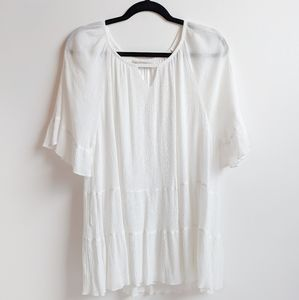 Paisley Vine White Ruffled Tunic Top